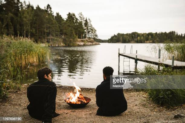 rear view of male friends talking by fire pit against lake - sweden stock pictures, royalty-free photos & images