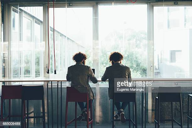 rear view of male hipster twins working at office desk - identical twin stock pictures, royalty-free photos & images