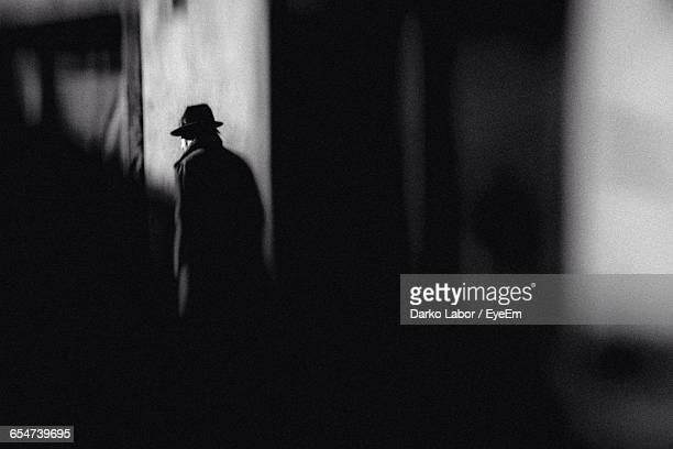 rear view of man at night - detective stock pictures, royalty-free photos & images