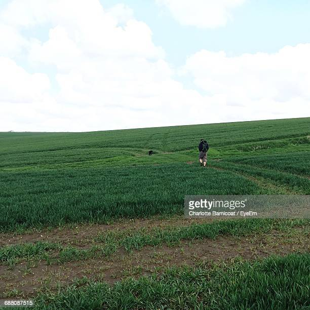 Rear View Of Man Hiking On Grassy Hill Against Cloudy Sky