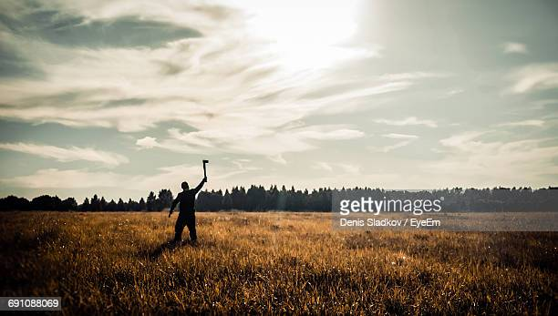 Rear View Of Man Holding Axe On Grassy Field Against Sky During Sunny Day