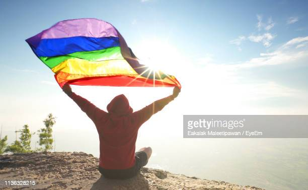 rear view of man holding rainbow flag while sitting on mountain against sky - pride flag stock pictures, royalty-free photos & images