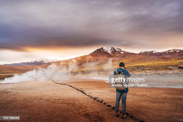 rear view of man in chile - chile stock pictures, royalty-free photos & images