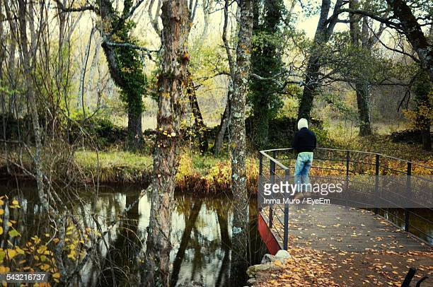 rear view of man jumping on pier by stream in forest - muro stock photos and pictures