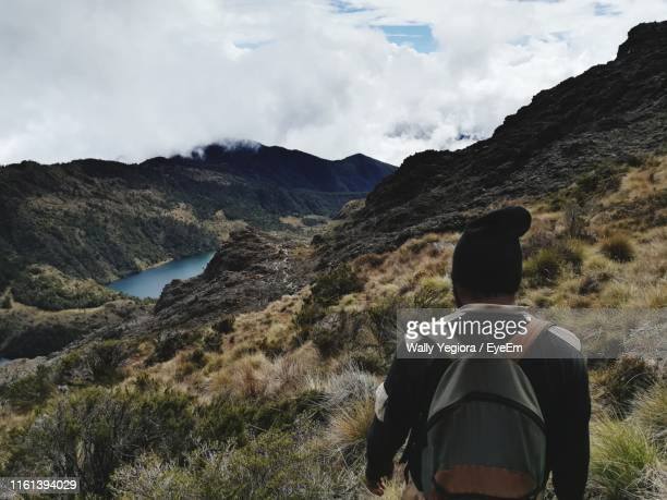 rear view of man looking at mountains against sky - wally yegiora stock photos and pictures