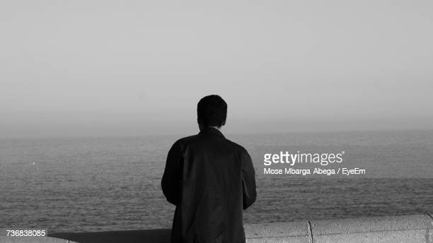 Rear View Of Man Looking At Sea While Standing On Pier