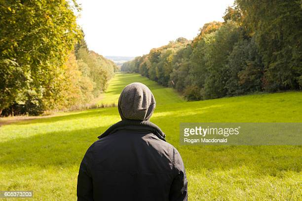 Rear view of man looking out at landscape, Great Missenden, Buckinghamshire, U.K