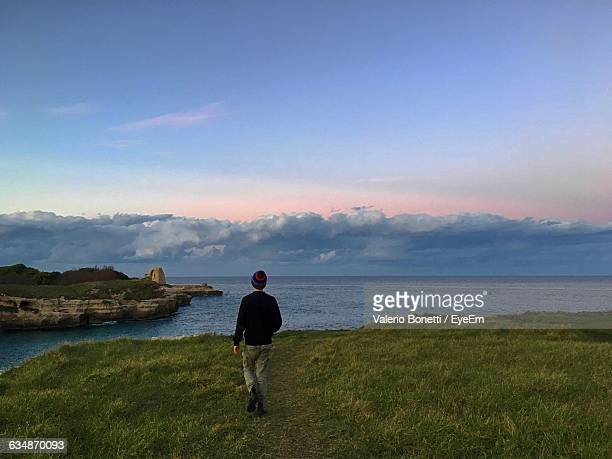 Rear View Of Man On Grassy Field In Front Of Sea At Sunset