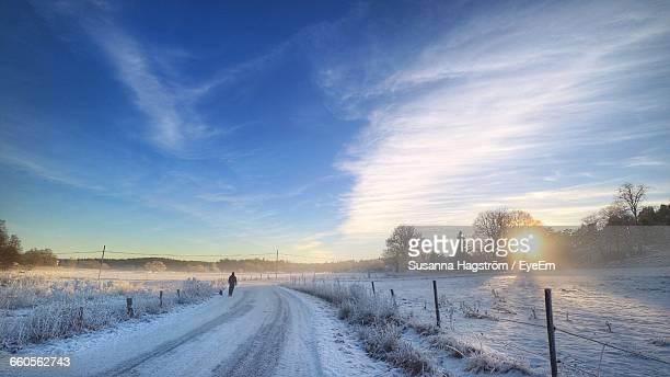 Rear View Of Man On Snow Covered Road Against Sky