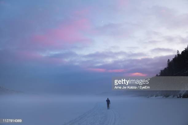 Rear View Of Man On Snow During Sunset