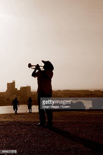 Rear View Of Man Playing Trumpet By Lake Against Clear Sky