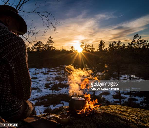 rear view of man preparing food outdoors - arne jw kolstø stock pictures, royalty-free photos & images