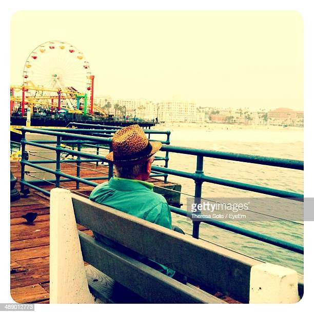 Rear view of man relaxing on bench at Santa Monica Pier