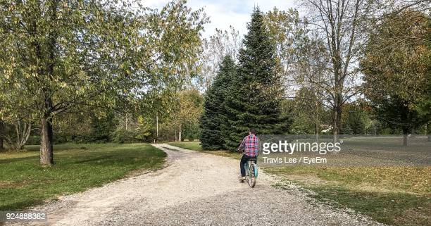 Rear View Of Man Riding Bicycle On Road At Park