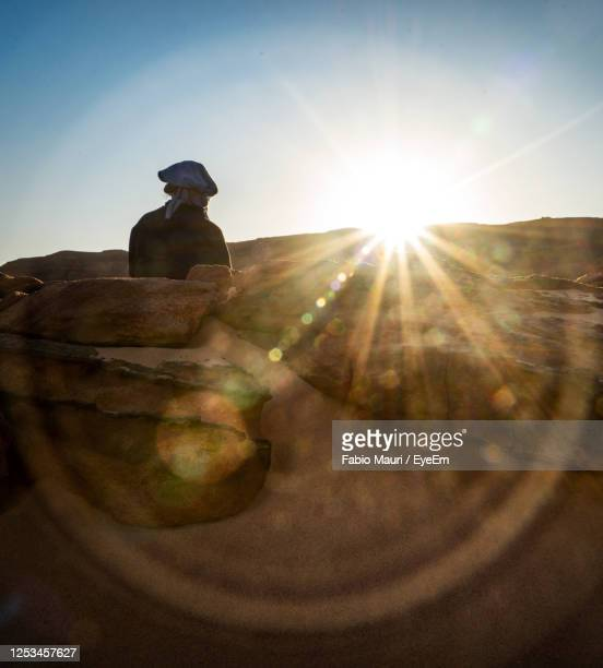 rear view of man sitting against sky on sunny day - egypt stock pictures, royalty-free photos & images