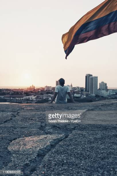 rear view of man sitting and looking at view against clear sky - bandera colombiana fotografías e imágenes de stock