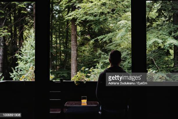 Rear View Of Man Sitting At Table In Forest