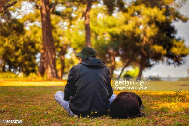 rear view of man sitting on land at park - saka stock pictures, royalty-free photos & images