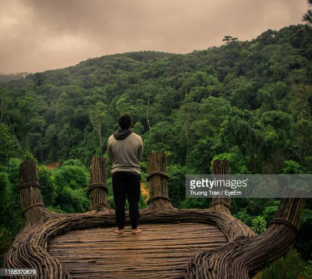 rear view of man standing at observation point while mountain looking at view - terrasse panoramique photos et images de collection