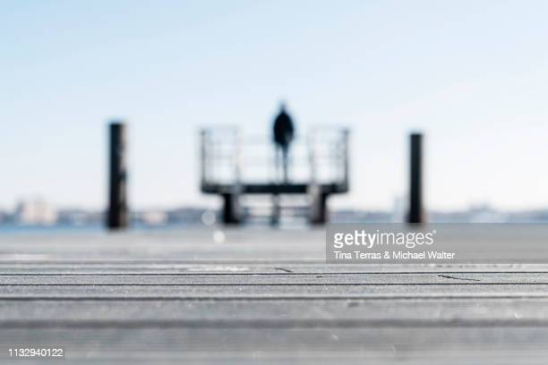 rear view of man standing on a pier at the coast in kiel (germany) - variable schärfentiefe stock pictures, royalty-free photos & images
