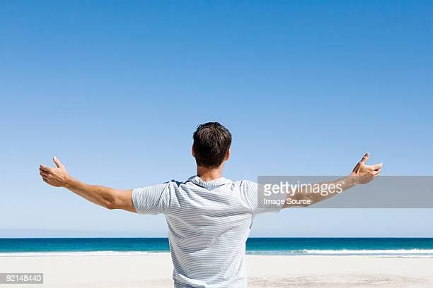 vue arrière d'un homme debout sur la plage à la recherche - polo t shirt photos et images de collection