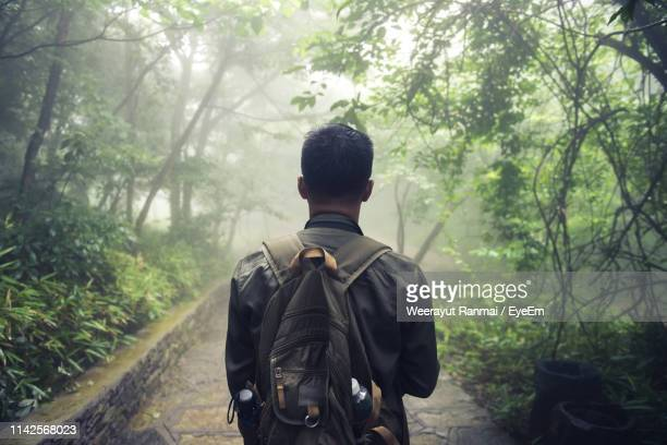 rear view of man standing on footpath in forest - coat stock pictures, royalty-free photos & images