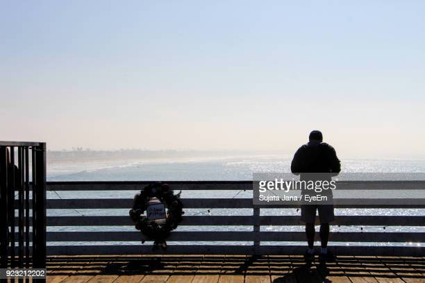 Rear View Of Man Standing On Pier Over Sea