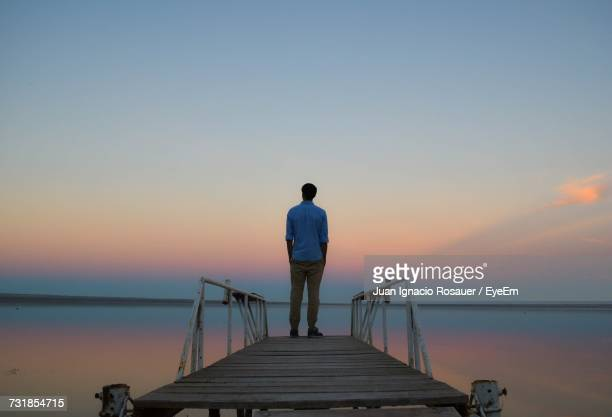 rear view of man standing on pier - 後ろ姿 ストックフォトと画像