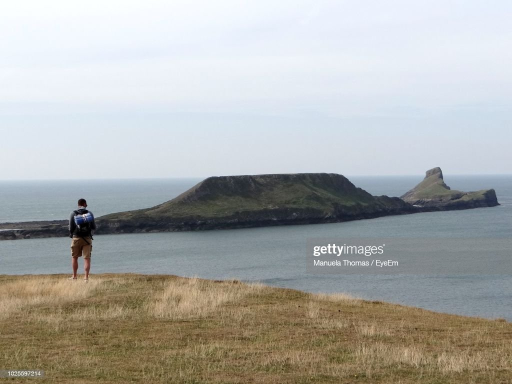 Rear View Of Man Walking On Field Against Sea At Beach : Stock Photo