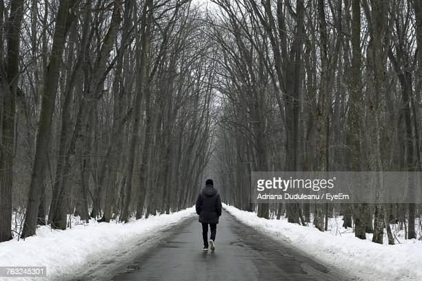 rear view of man walking on road during winter - adriana duduleanu stock photos and pictures