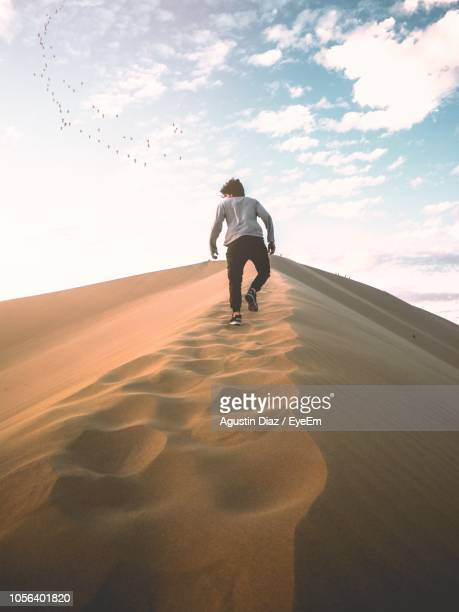 Rear View Of Man Walking On Sand Against Sky