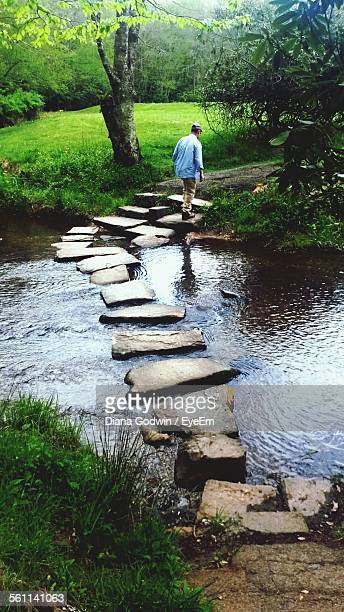 rear view of man walking on stepping stones - stone age - fotografias e filmes do acervo