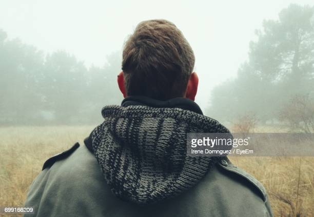 rear view of man wearing hooded jacket on field during foggy weather - hood clothing stock photos and pictures