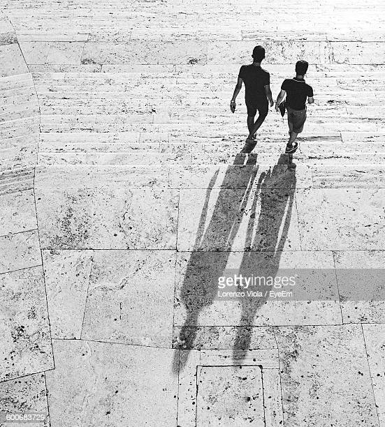 Rear View Of Men Moving Down Steps On Sunny Day