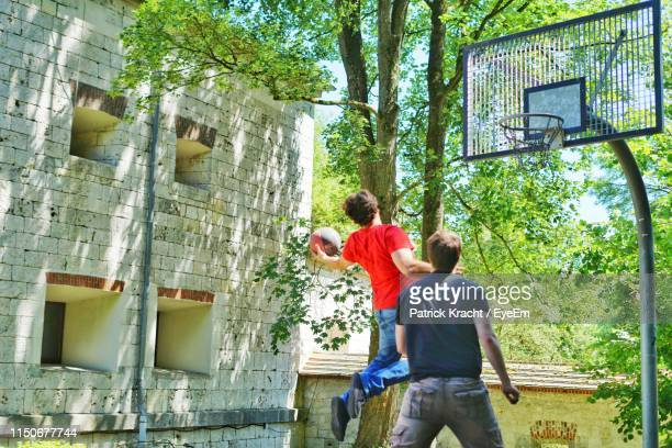 rear view of men playing basketball against trees - making a basket scoring stock pictures, royalty-free photos & images