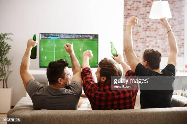 rear view of men watching football match and cheering. debica, poland - sports round stock-fotos und bilder