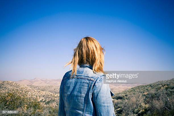 rear view of mid adult woman gazing at view, lake arrowhead, california, usa - blue jacket stock pictures, royalty-free photos & images