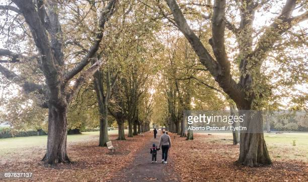 Rear View Of Mother And Son Walking On Footpath Amidst Trees In Park During Autumn