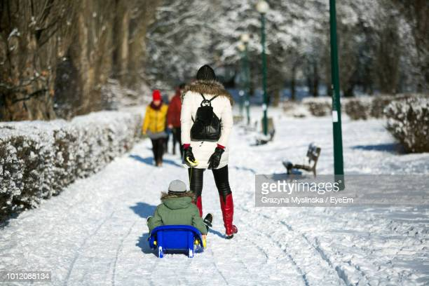 Rear View Of Mother Carrying Child On Sled At Park During Winter