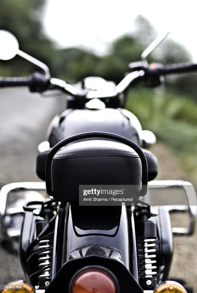 Rear view of motorcycle : Stock Photo