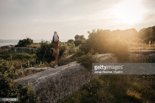rear view of naked woman standing on rock during sunset - aktfoto stock-fotos und bilder
