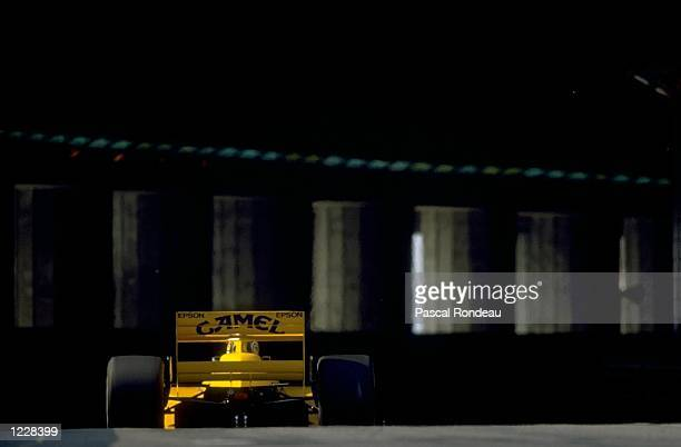 Rear view of Nelson Piquet of Brazil as he enters the tunnel in his Lotus Judd during the Monaco Grand Prix at the Monte Carlo circuit in Monaco...