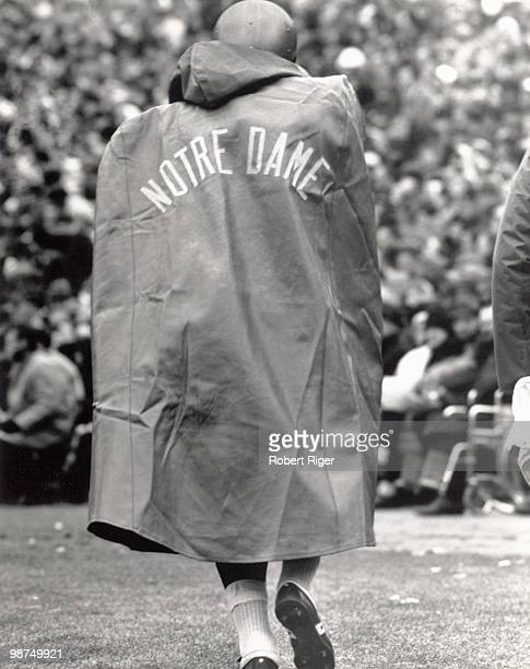 Rear view of Notre Dame Fighting Irish player during the game against the Michigan State Spartans at Spartan Stadium on November 19 1966 in East...