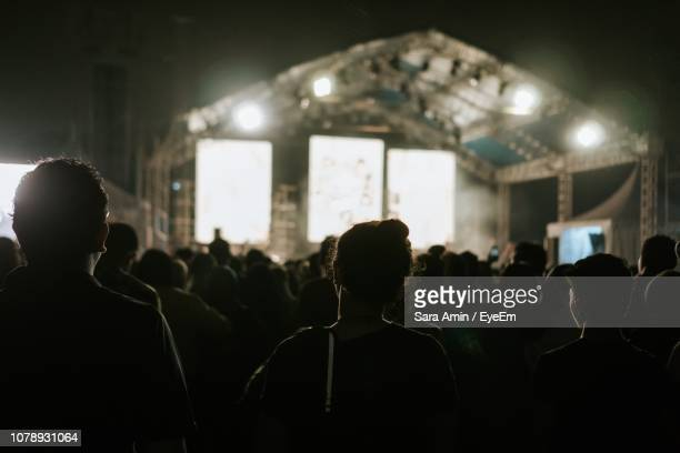 Rear View Of People Enjoying At Music Concert