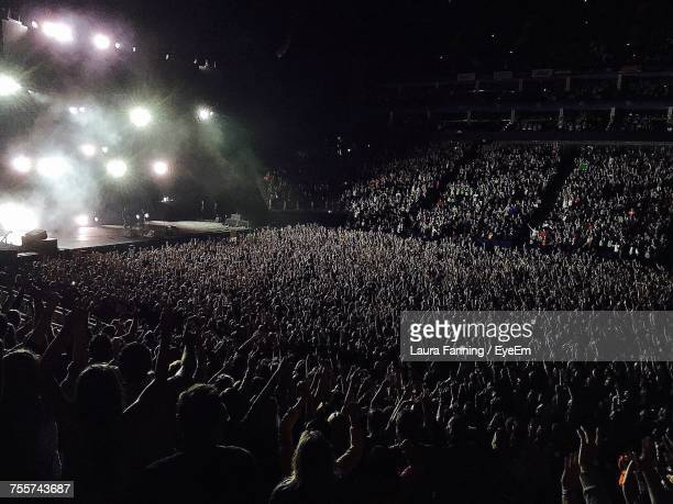 rear view of people enjoying music concert - rock music stock pictures, royalty-free photos & images