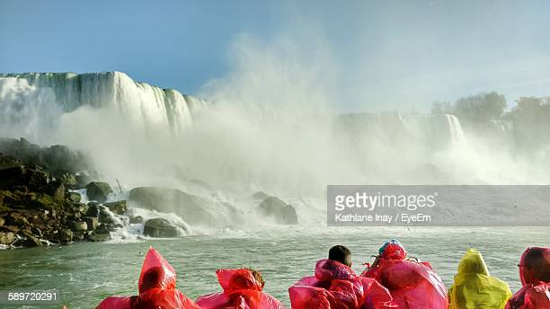 Rear View Of People In Front Of Niagara Falls