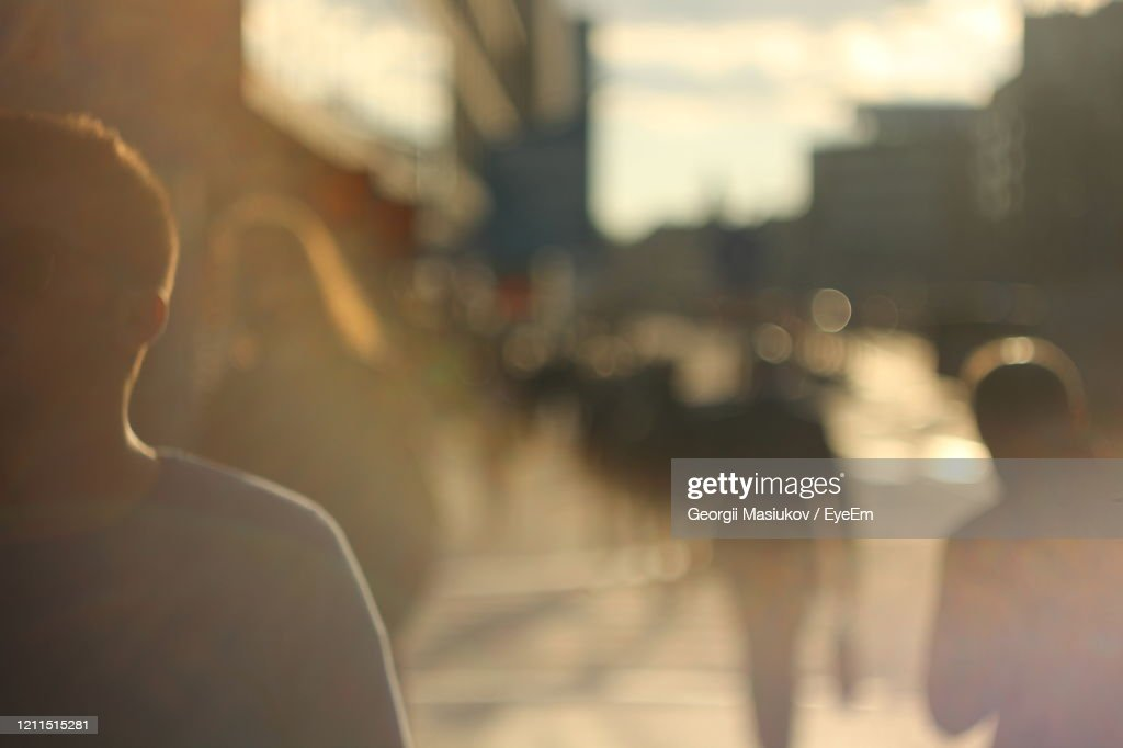 Rear View Of People On Street In City : Stockfoto