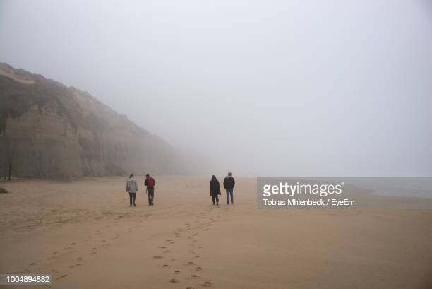 Rear View Of People Walking At Beach Against Sky During Winter
