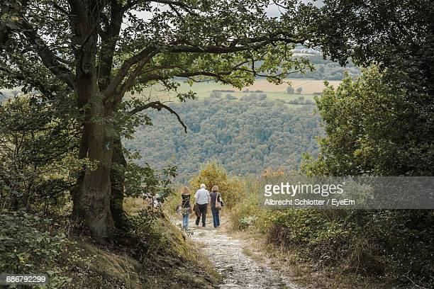 rear view of people walking on dirt footpath - albrecht schlotter stock photos and pictures