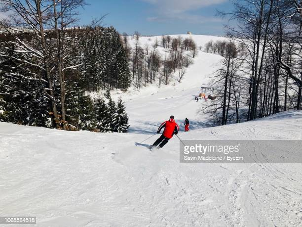 Rear View Of Person Skiing On Snow Covered Mountain